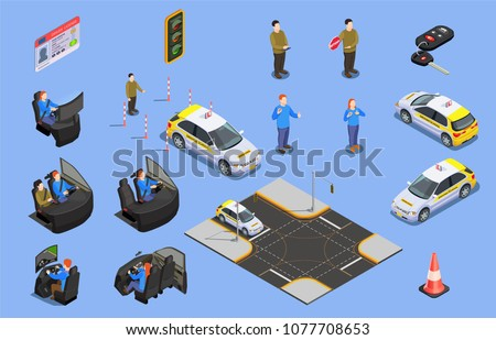 Driving school isometric icons collection of car simulators driver license and human characters with safety cone vector illustration