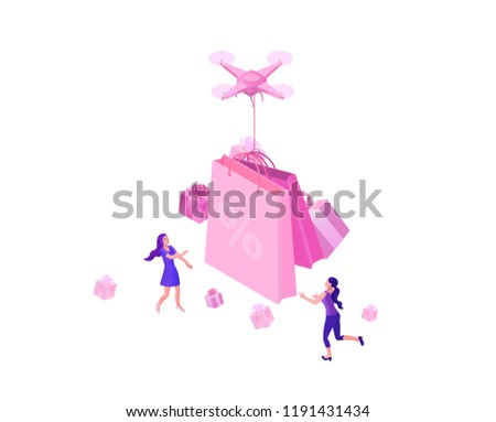 Drone delivering pink gift box 1a4a3cf427f0c