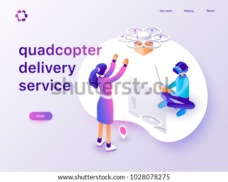 Drone delivery service concept with people controlling quadcopter via VR headset. Landing page template. 3d vector isometric illustration.
