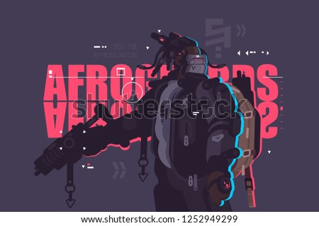 Drone dude afro guard with backpack and weapon vector illustration. Robot mechanized and automated flat style concept. New latest robotic technologies