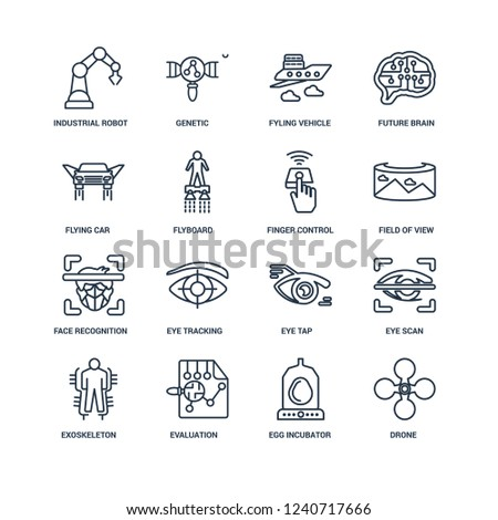 Drone, Egg incubator, Evaluation, Exoskeleton, Eye scan, Industrial robot, Flying car, Face recognition, Finger control outline vector icons from 16 set