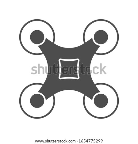 Drone glyph icon on blue background. Quadcopter top view. Copter, unmanned aerial vehicle sign. Vector illustration