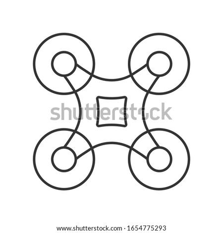 Drone line, outline icon on blue background. Quadcopter top view. Copter, unmanned aerial vehicle sign. Vector illustration