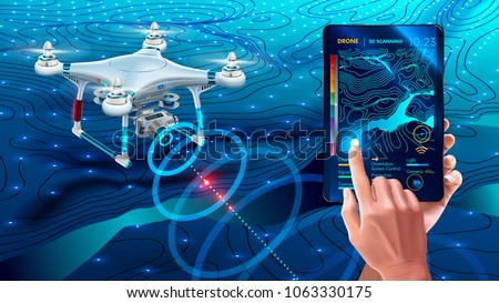 Drone or quadcopter with camera 3d scanning land. Drone fly over landscape and make geological mapping of the field. Landforms display on digital tablet in hands. Modern agricultural technology