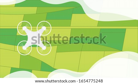Drone robot fly above agricultural field. Quadcopter top view. Agriculture technology, using innovations in agriculture concept. Copter among clouds and above green field. Vector illustration