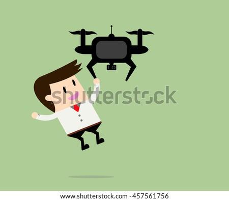 drone take a businessman