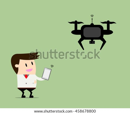 drone take a businessman
