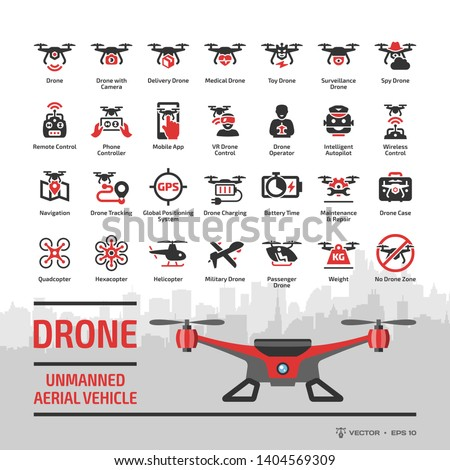 Drone unmanned aerial vehicle glyph icon set with flat red UAV, skyline, autonomous technology, sky camera, military and delivery aircraft robots, helicopter, remote control silhouette symbols.