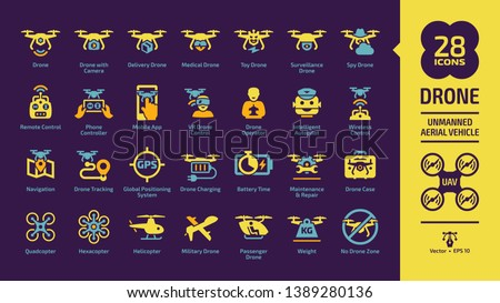 Drone unmanned aerial vehicle icon set on a violet background with UAV digital technology, sky camera, military, medical, surveillance, spy and delivery aircraft robots, remote control glyph sign.