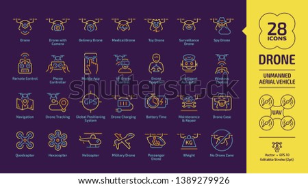 Drone unmanned aerial vehicle outline icon set on a violet background with UAV digital technology, camera, delivery, medical, toy, surveillance and spy aircraft robots editable stroke line sign.