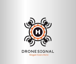 Drone Wifi Signal Letter H logo Icon, Abstract Technology Drone Service and Wifi Vector Design Concept