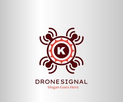 Drone Wifi Signal Letter K logo Icon, Abstract Technology Drone Service and Wifi Vector Design Concept