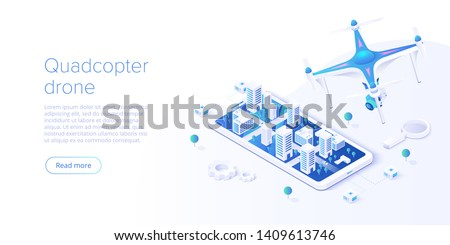 Drone with smartphone remote control concept in isometric vector illustration. Flying camera helicopter videography background. Web banner layout template.