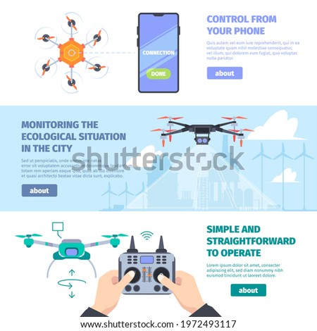 drones banners cityscape