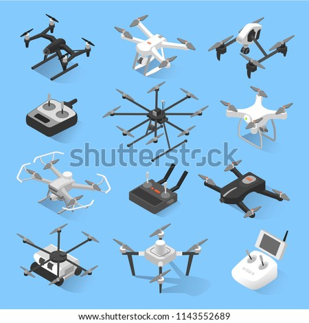Drones isometric icon set. Small remote-controlled aircrafts, helicopters, with four blades to film or photograph from the air. Vector flat style cartoon illustration isolated on white background