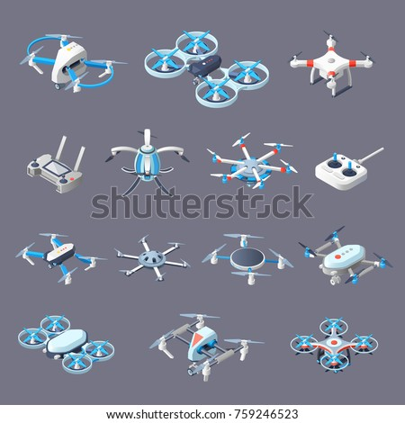 drones isometric icons with