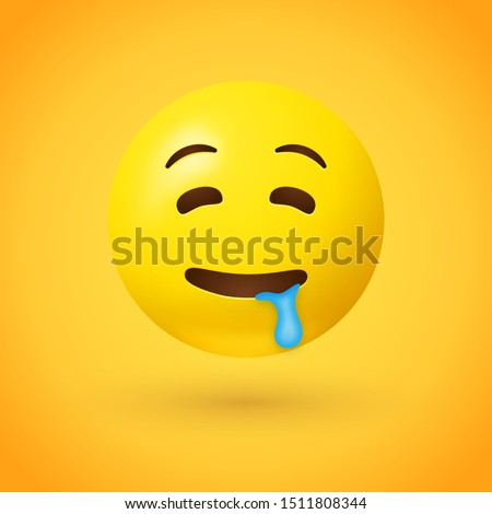 Drooling face emoji with half closed eyes and raised eyebrows, with saliva drooling from the corner of its mouth. Often used to show desire for a person or object
