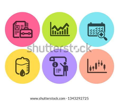 Drop counter, Medical calendar and Infochart icons simple set. Vacancy, Manual doc and Candlestick graph signs. Medical equipment, Doctor appointment. Science set. Flat drop counter icon. Vector