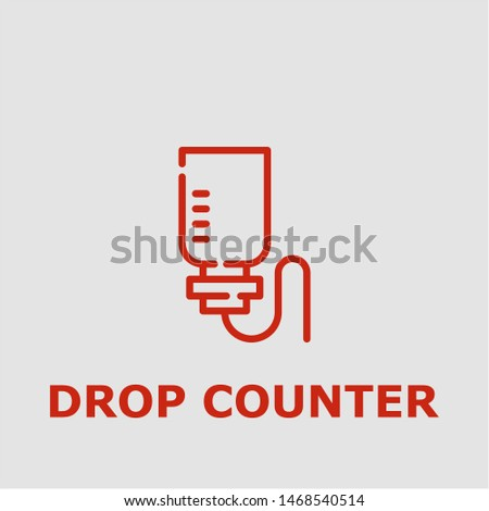 Drop counter symbol. Outline drop counter icon. Drop counter vector illustration for graphic art.