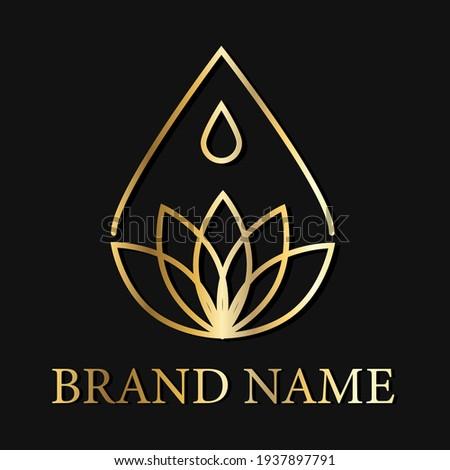drop lotus flower creative logo