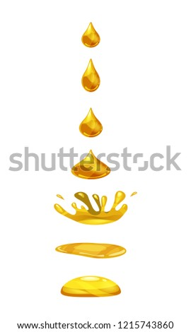 Drop of liquid, water falls and makes a splash, orange, gold colour. Phases, frames, for animation, cartoon style, vector, isolated