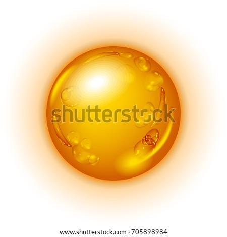 Drop of oil or honey isolated on white background. Icon of droplet of oil or honey.Vector illustration.