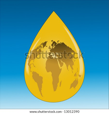 drop of oil with earth