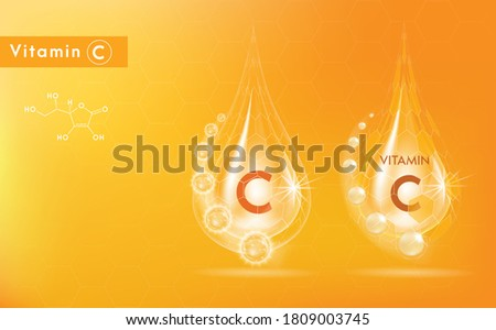 Drop Vitamin C and structure. Medicine capsule, Golden substance. 3D Vitamin complex with chemical formula. Personal care and beauty concept. Vector Illustration