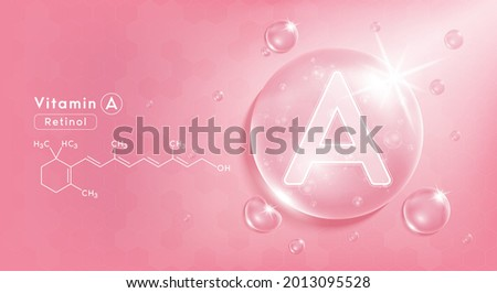 Drop water vitamin A pink and structure. Vitamin complex with Chemical formula from nature. Beauty treatment nutrition skin care design. Medical and scientific concepts. 3D Realistic Vector EPS10.