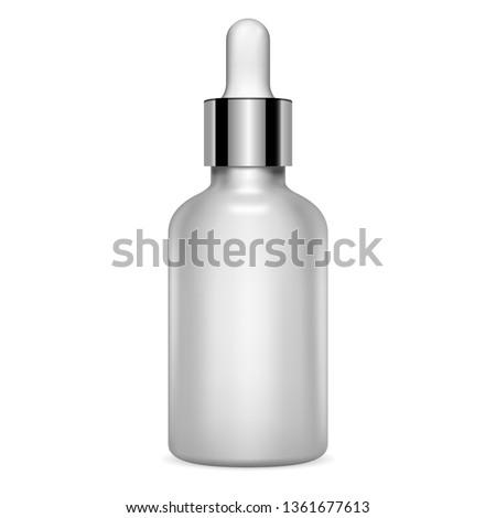 Dropper Serum Bottle. Essential Vial 3d Mockup. Clear Silver Metal Glass Eyedropper Packaging for Treatment E Liquid. Luxury Moisture Pot Mockup for Collagen Essence. Aromatherapy Jar.