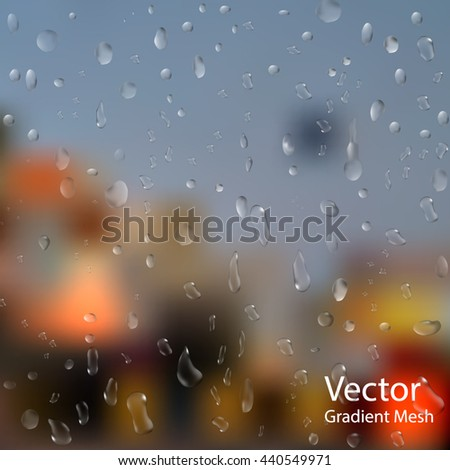 drops of rain on window with