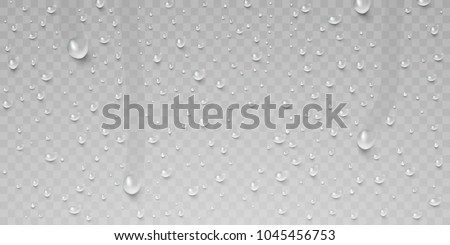 Drops of water, dew falls. Rain or shower drops isolated on transparent background. Realistic pure water droplets condensed. Vector clear vapor bubbles on window glass surface for your design.
