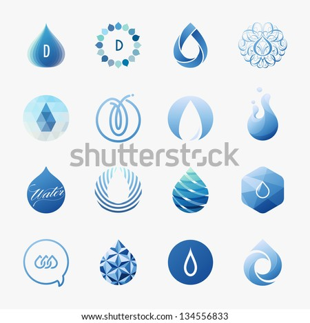 Drops. Set of vector design elements