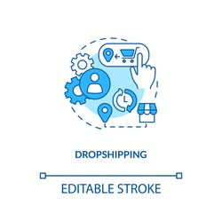 Dropshipping concept icon. Ecommerce warehouse solutions. Store does not keep products sold in stock. Retail idea thin line illustration. Vector isolated outline RGB color drawing. Editable stroke