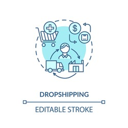 Dropshipping concept icon. Transportation service, small entrepreneurship idea thin line illustration. Modern business model. Vector isolated outline RGB color drawing. Editable stroke