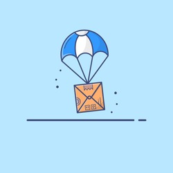 Dropshipping. Drop shipping concept. Package flying on parachute, Courier delivery service concept. Flat icon illustration design.