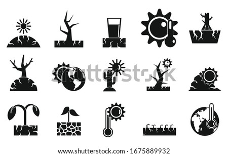 Drought icons set. Simple set of drought vector icons for web design on white background Сток-фото ©