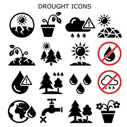 Drought, natural disaster, climate change vector icons set - no water for plants, in gardens and forests  Drought warning design collection - environment, nature concept, dry soil and sun icons