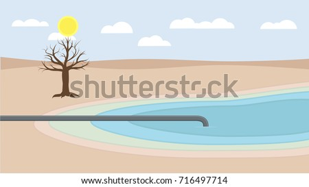 drought water deficiency shortage flat design