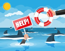 Drowning businessman in sea with sharks getting lifebuoy from another man. Helping business to survive. Help, support, survival, investment, obstacle crisis. Risk management. Flat vector illustration