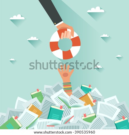 Drowning student getting lifebuoy. Pile of books and Overwhelmed student. Too much study. Student's hand drowning in books. Education concept. Vector flat colorful illustration