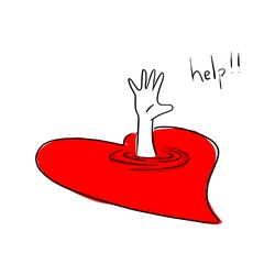 drowning victim in red heart vector illustration sketch doodle hand drawn with black lines isolated on white background.