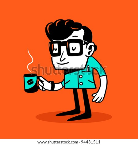Drowsy nerd. Vector illustration.
