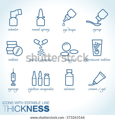 Drug forms icons vector Stockfoto ©
