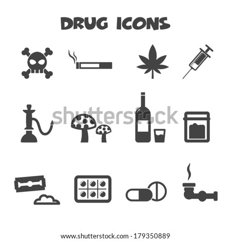 drug icons  mono vector symbols