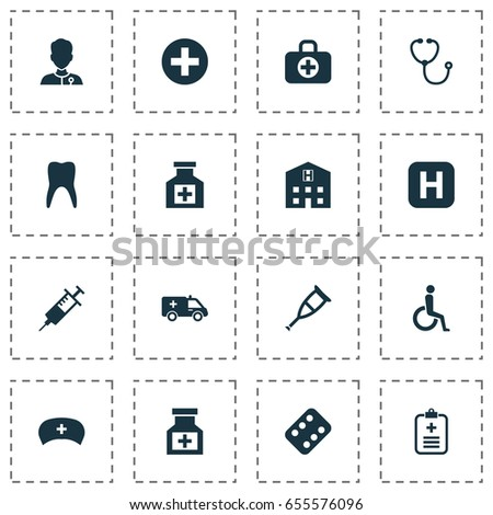 Drug Icons Set. Collection Of Cap, Handicapped, Analyzes Elements. Also Includes Symbols Such As Medication, Infirmary, Antibiotic.