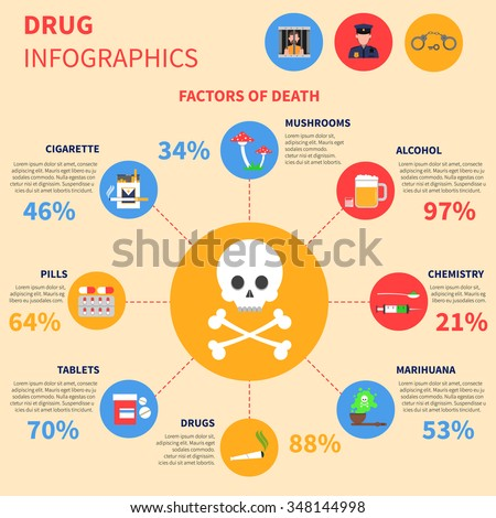drug infographics set with