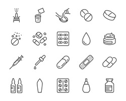 Drug, Pharmacy Medical Line Icons. Vector Illustration Included Icon as Effervescent Pills, Cough Syrup Bottle, Gel, Antibiotic Capsule and other Pharmaceutical Pictogram. Editable Stroke