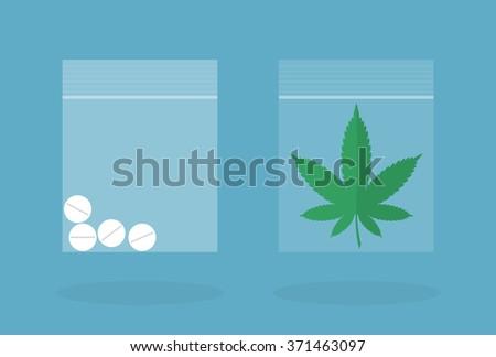 drug pills and marijuana leaf