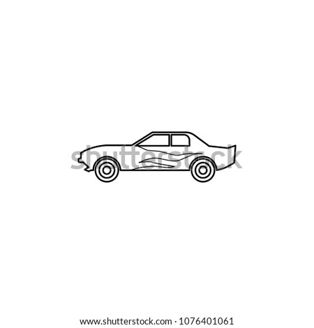 drug racing car illustration. Element of extreme races for mobile concept and web apps. Thin line drug racing car illustration can be used for web and mobile. Premium icon on white background